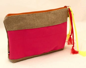 Linen Pouch. Neon orange stripes. make up case.Boho chic beach style clutch.