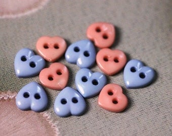 Lot of 11 Pink and Blue Two Hole Sew Thru Plastic Heart Shaped Buttons