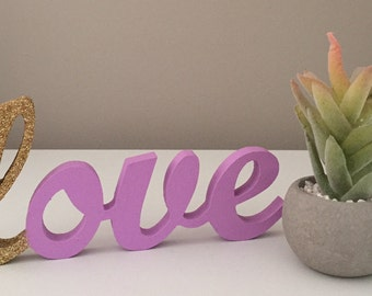 Purple wooden love sign glitter