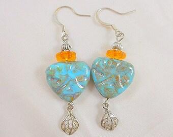 Turquoise Citrine Heart Dangle Earrings