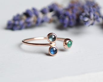 Sapphire Ring, Emerald Ring, Rose Gold Ring, Sapphire Jewelry, Aquamarine Ring, Birthstone Jewelry, 9ct Rose Gold Jewelry, Stacking Ring