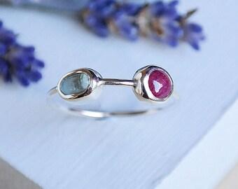Sterling Silver Ruby Ring, Aquamarine Ring, Ruby Jewelry, July Birthstone, Gemstone Ring, Silver Ruby Ring, Stackable Ruby Ring, Silver Ring