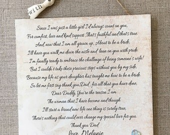 Personalised Father Of The Bride Wedding Wooden Plaque Card Gift W140