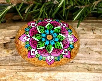 Painted Stone Mandala On River Stone for Meditation Inspiration Serenity