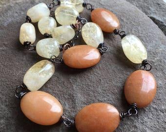 Citrine necklace, adventurine, copper wrapped jewelry,