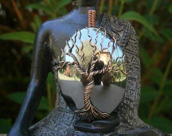hematite jewelry hematite pendant wire wrapped jewelry gift tree of life copper jewelry