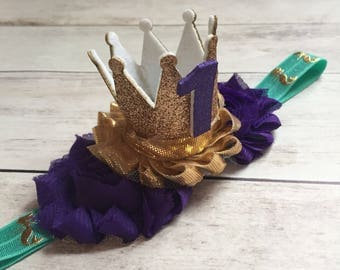 Mermaid First Birthday Headband, 1st Birthday Headband, Girls First Birthday Outfit, Smash cake outfit, Gold Crown Headband, aqua and purple