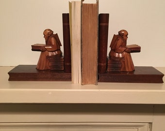 Vintage Carved Wood Monk Bookends