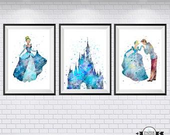Cinderella  print, Disney print, Nursery prints, Water colour print, Quote print, Baby girls nursery, Girls decor,