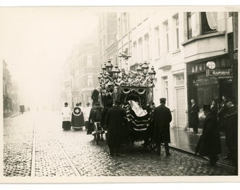 Funeral procession with ornate horse drawn hearse - set of 3 vintage photos - catholic burial, mourning, death - memento mori