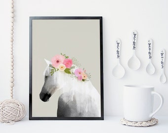 Horse art print, wall art, flower poster,  animal art, horse watercolor, home wall decor, apartment wall art, horse poster, nursery, gift