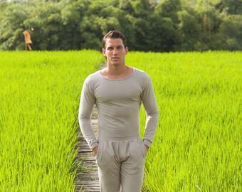 Men Yoga Jumpsuit,, Activewear for Men, Beige, Yogapants, Yoga, Yogaclothing, Activewear, Handmade, Sportswear