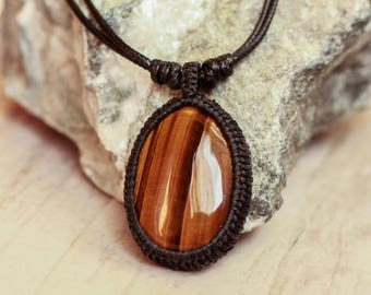 men necklace tiger eye stone macrame necklace pendant men gift for men boyfriend gift macrame jewelry cabochon necklace gemstone charm