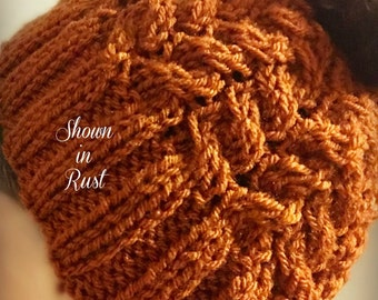 Messy Bun Hat ~ Cabled Knit (4 Diff Colors)