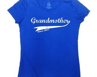 Grandmother Since 2017 T Shirt Custom Year Shirt Grandma TShirt Mother's Day Gift New Grandmother Shirt Grandma Clothes Ladies Tee - SA250