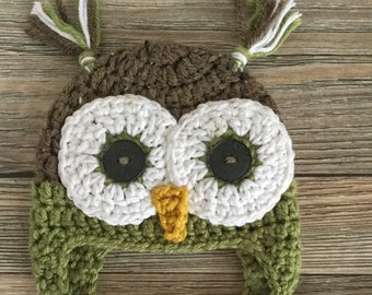 Newborn Crochet Hat, Handmade Owl Hat, Newborn owl Photo Prop, Baby Boy Earflap Hat, Nanas Gone Loopy, Woodsy Owl, Green Owl Hat,