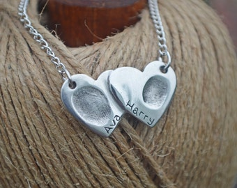 Double Connected Heart Shaped Fingerprint Necklace - Keepsake Jewellery - Print Keepsake - Personalised Charm - Birthstone Charm