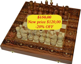 Antique Chess Set Wooden Backgammon Set Chess board Copper wood Chess pieces Backgammon table Chess set Backgammon set Carved wood Handmade