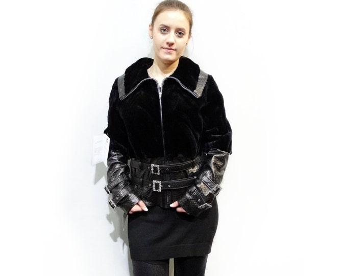Beaver Fur Jacket,Black Winter Fur Jacket F140