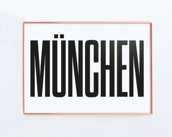 München Poster, Munich Germany, Graphic Art, Poster, Print, Gift
