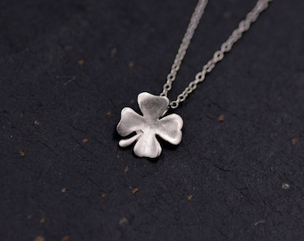 Sterling Silver Tiny Little Four Leaf Clover Shamrock Pendant Necklace - Good Luck Charm  - 16'' - 18''  Y54