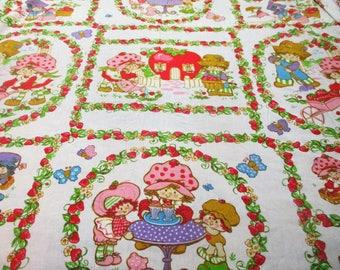 Vintage Strawberry Shortcake Twin Flat Sheet Fabric Craft 1980 American Greetings