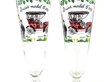 Retro Beer Pint Glasses ~ Pedestal Drinking Glasses ~ Buick Drinking Glasses 1960s ~ Pilsner Glasses ~ Set of 2