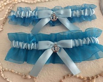 Turquoise organza garter set, Lt. blue satin bow, Anchor charm, wedding garter, bridal garter, prom, custom garter, homecoming gerter