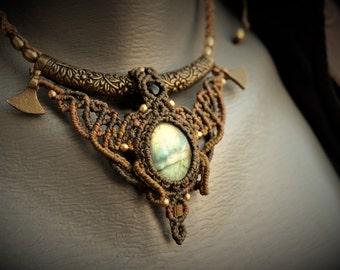 Labradorite macrame necklace, boho necklace, Tribal bohemian necklace, healing stone, labradorite jewelry, gypsy hippie jewelry, unique