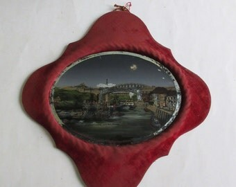 antique reverse glass painting Sunderland the bridges, England souvenir