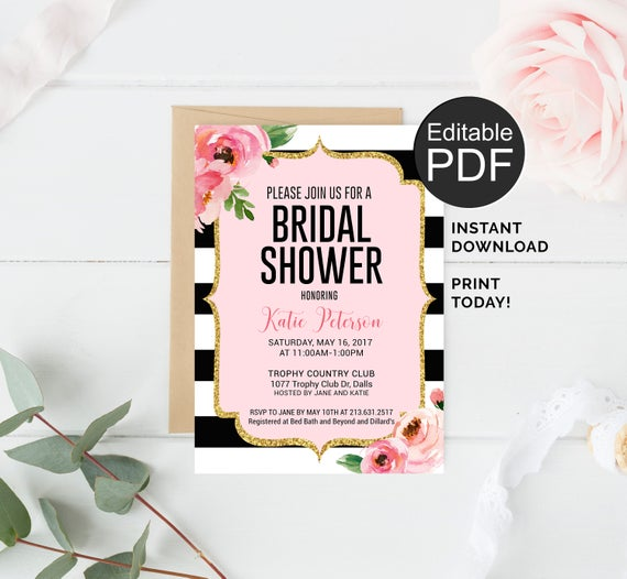 Kate bridal shower invitation template black stripes invitation il570xn filmwisefo