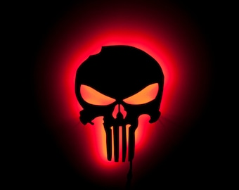 Lighted Punisher Sign Lamp - Acrylic - Night Light and Wall Art for fans of Marvel