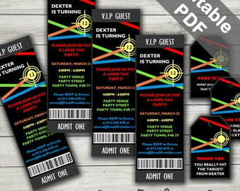 Laser Tag Invitations And Free Laser Tag Party Bag Tags. Editable PDF. Printable. Instant Download.
