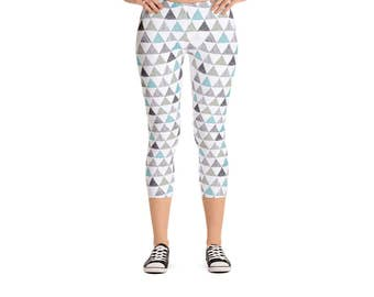 Blue & Gray Doodle Triangle Leggings - Women's Active Wear Pants - Fun Yoga Pants - Sizes XS to XL - Polyester/Spandex - Gift Idea for Her