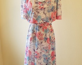 Vintage Dress, vintage D'Allairds dress, vintage clothing, 1980s dress, size 14 dress, vintage summer dress, summer dress, day dress, canada