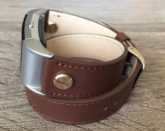 Brown Double Wrapped Eco Friendly Leather Bracelet For Fitbit Charge 2 With Gold Rivets Handmade Replacement Fitbit Charge 2 Band