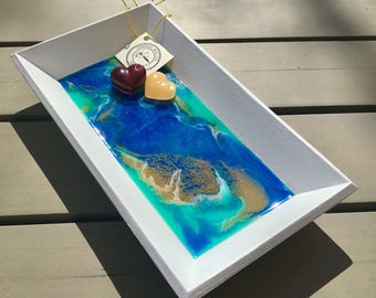 Resin jewelry tray, small 13 x 23 cm
