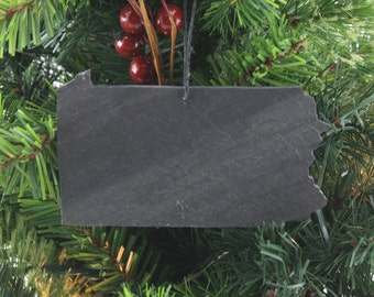 Pennsylvania Slate Christmas Ornament- Personalized with Laser Engraving
