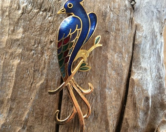 Vintage Parrot Brooch Bird Pin Tropical Feathered Creature Jewelry