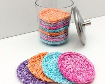 Crochet Face Scrubbies, Reusable Cotton Round, Face Scrub, Make up Remover Set of 4  [056]