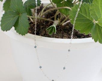 Tiny Raw Diamond Strand Necklace
