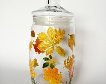 Thanksgiving Gift Hand Painted Jar Fall Autumn Leaves Decorations Glass Jar with lid Kitchen Autumn Decor Hand-Painted Container Glassware