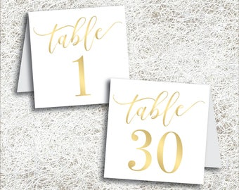 Printable Gold Tented Table Numbers 1 - 30   Instant Download   Printable Wedding Table Numbers   Tent Folded Gold Foil Numbers (FROST Set)