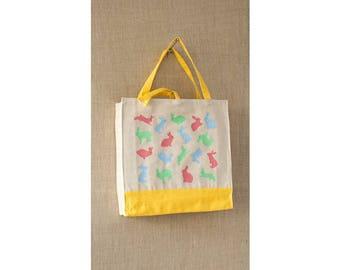 Canvas Tote Bag, Tote Bag, Easter Bunny, Baby Shower Bag, Diaper Bag, Pastel, Shopping Bag, Eco Friendly Bag, Beach Bag, Book Bag,