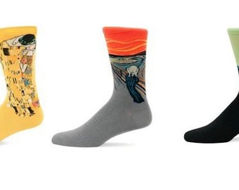 Men's Art Socks,The Kiss,Mona Lisa,Starry Night,The Scream,Cypress Tree,David,Fine Art Socks,Casual Socks,Artist,Art Teacher Gift