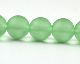 Recycled Cultured Sea Glass Round Beads Pale Seafoam Peridot Green Matte 14mm