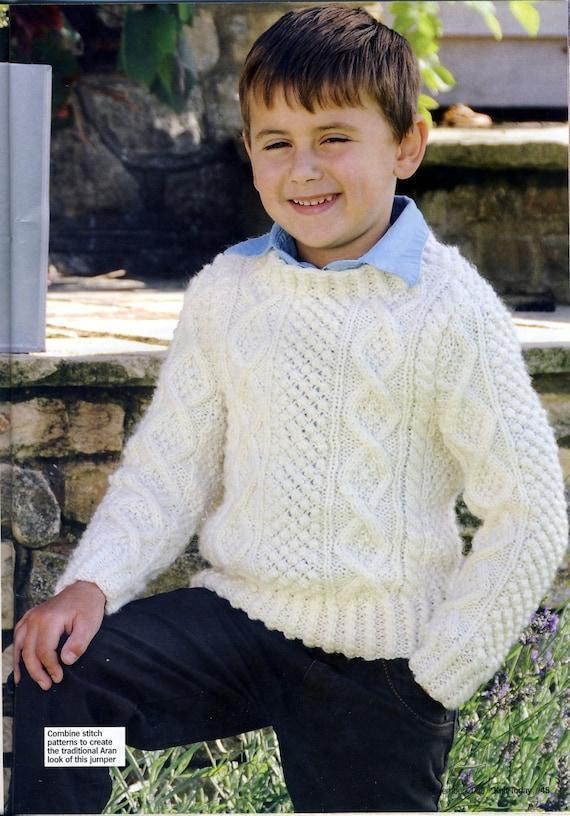 Boys Aran Jumper / Sweater Knitting Pattern. By Mary Hickmott.