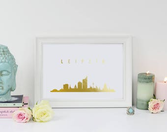 Leipzig Print, Leipzig Skyline, Real Gold Foil Print, Leipzig Poster, Gold Skyline Art, Home Decor, Germany Skyline, Gold Germany Art, 8x10