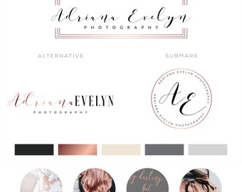 Watercolor Logo Design, Makeup Logo Design, Rose gold Branding kit Logo Design Premade Branding Package, stamp,  Photography Logo, watermark