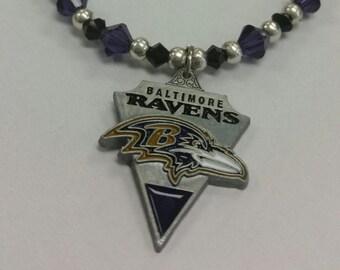 Baltimore Raven Football Swarkovski Necklaces